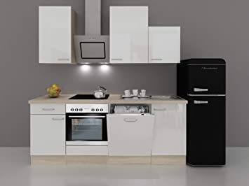 Küche Mit Retro Kühlschrank : Küchenzeile hochglanz weiß mit retro kühlschrank valencia
