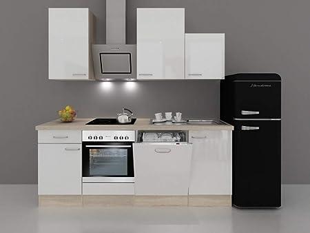 Retro Kühlschrank Weiss : Küchenzeile 220 hochglanz weiß mit retro kühlschrank valencia
