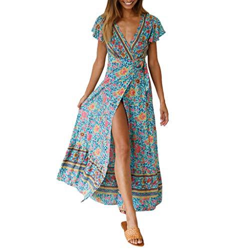Womens Boho Ethnic Floral Print V-Neck Long Sundress Summer Hem Split Party Evening Beach Dress -
