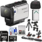 Sony Action Cam HDR-AS300 Wi-Fi HD Video Camera Camcorder Flat Surface & Helmet Mounts + 64GB Card + Battery + Case + Flex Tripod + Kit