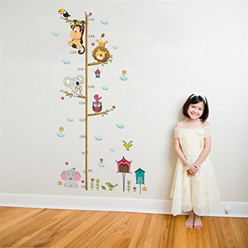 1 Pack Animals on Tree Branch Growth Chart Wall Stickers Height Measure Mural Art Decals Living Room Bedroom Girls Nursery Splendid Popular Dream World Moon Star Ocean Sun Flower Vinyl Window Decor