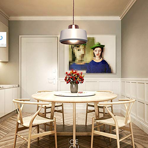 SEEBLEN Modern Pug in Pendant Light, White Metal Lamp Shade Hanging Lights with Plug in Cord Light Fixtures 15Ft in-Line On/Off Switch(Mini Sizes 4.7x10x10 Inches))