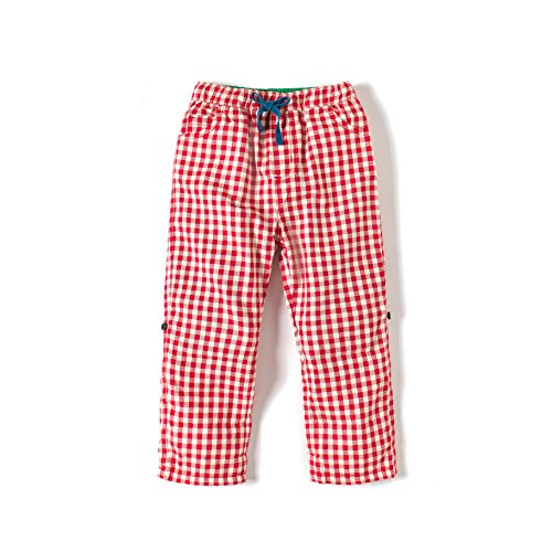 Gorboig Kids Pants Boys Cotton Ankle Length and Full Length Casual Trousers (3/4Y, Red Lattice)