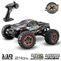 Hosim Large Size 1:10 Scale RC Car High Speed 46km/h 4WD Remote Control RC Truck 9125, 2.4Ghz Radio Controlled Offroad RC Truggy RTR Monster Truck R/C Hobby Car Buggy Grade All Terrain Car(Red)
