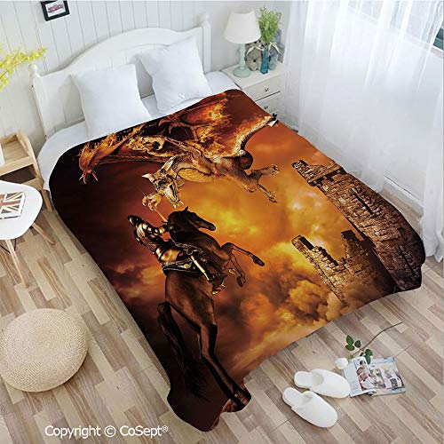 (PUTIEN Cozy Flannel Blanket,Kids Nursery Decor with a Knight on Horse Castle Mystic Fairytale Art,All Season Use(72.83