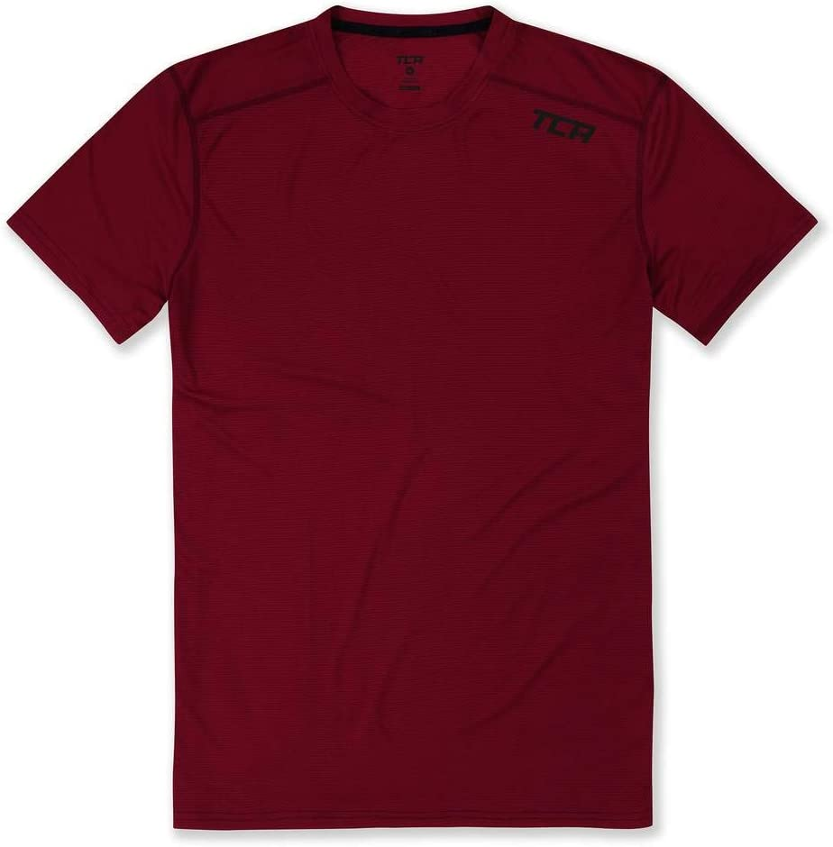 TCA Homme Essential Grid-Check T-Shirt de Running Respirant /à Manches Courtes