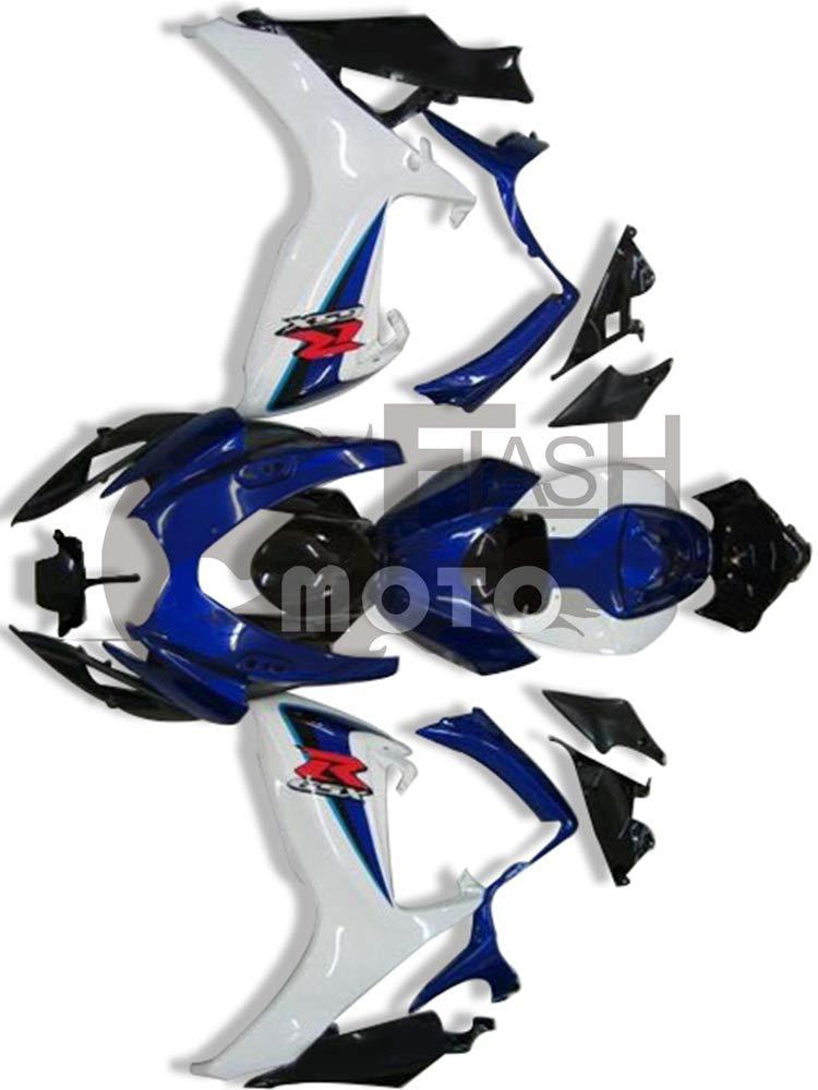 FlashMoto suzuki 鈴木 スズキ GSX-R600 GSX-R750 K6 2006 2007用フェアリング 塗装済 オートバイ用射出成型ABS樹脂ボディワークのフェアリングキットセット (ブルー,ホワイト)   B07MKCNPCP