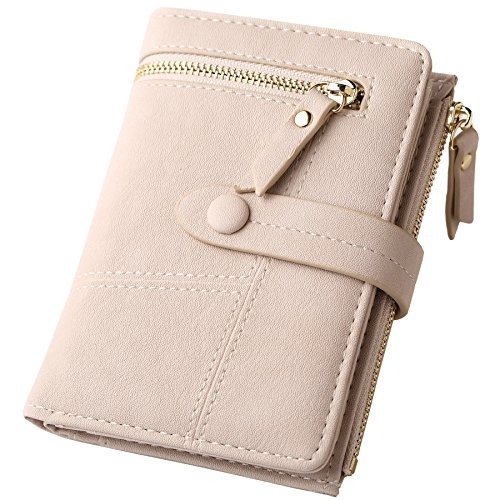 - Womens RFID Blocking Beige Leather Organized Wallets Purse Compact Bifold Clutch for Girls