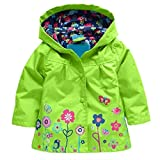 Girls Waterproof Windproof Hooded Coat Jacket Cute Floral Raincoat Outwear (Size 110, Green)