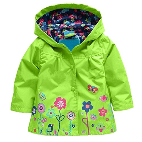 Girls Waterproof Windproof Hooded Coat Jacket Cute Floral Raincoat Outwear (Size 110, Green) by Cheesea