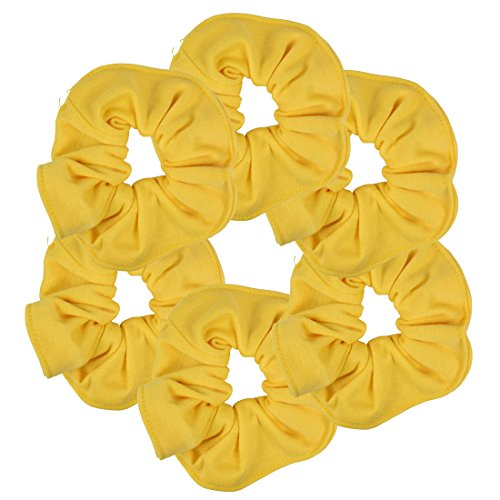 (6 Pack Large Solid Scrunchies Hair Elastics-Yellow)