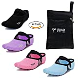 Yoga Pilates Barre Ballet cotton non slip grippy socks with a carrying bag for women