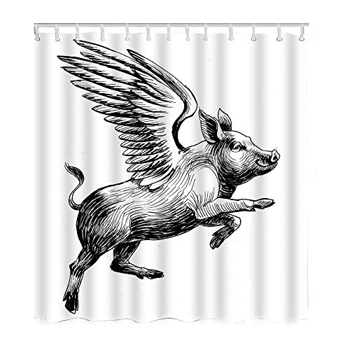 Moslion Pig Shower Curtain Set Black White Ink Vintage Flying Piggy Wings to The Skyv Shower Curtains Home Decorative Waterproof Polyester Fabric Hooks 72x72 -