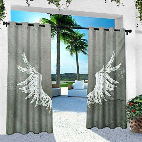 leinuoyi Grunge, Outdoor Curtain Extra Wide, Old Fashion Coat of Arms Wings in Front of Cracked Dirty Wall Royal Insignia Design, for Gazebo W120 x L96 Inch Grey White