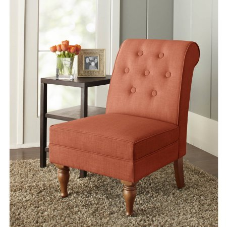 Solid Wood Legs Colette Tufted Classic Accent Chair in Terracotta