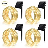 Ankway  Solar String Lights (8 Modes 39 ft 100 LED), Ankway Solar Fairy Lights with Bendable 12 Meters Lasting Durabble Copper Wire, IP65 Waterproof Light Sensor for Home, Garden, Patio, Fence, Window, Yard, Party, Wedding (Warm White)