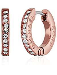 Michael Kors Womens Tone and Crystal Huggie Hoop Earrings