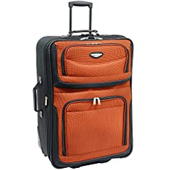 WMB Travel Pro 51HyYflXz8L._SS247_ Travel Select Amsterdam Expandable Rolling Upright Luggage, Orange, Checked-Large 29-Inch