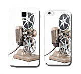 Angled view of Vintage 8 mm Movie Projector with Film Reels. cell phone cover case HTC ONE