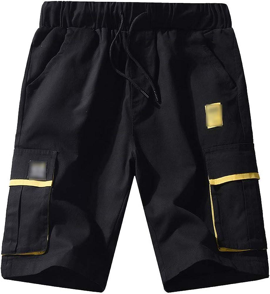 Yiqi Homme Pantalon Court Multi-Poches Taille /Élastique Cordelette Droit Shorts