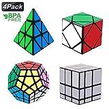 Magic Cube Set, Tresbro Speed Cube Set [4 Pack] Megaminx Pyramid Speedcubing Skewb Mirror Cube Smooth Magic Cube Puzzle Toy