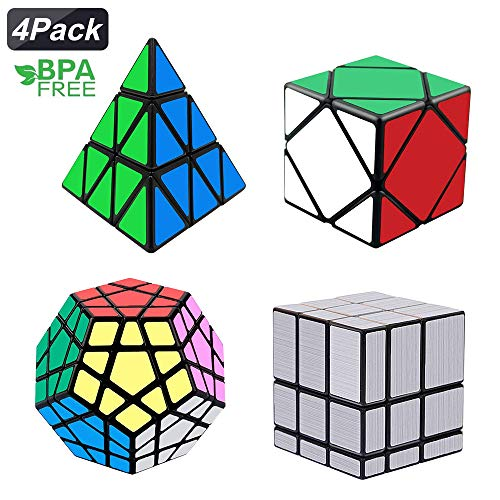 Mirror Block (Tresbro Magic Cube Set, Qiyi Speed Cube Bundle [4 Pack] Pyramid Speedcubing Mirror Cube Collection Smooth Magic Cube Puzzle Toy)