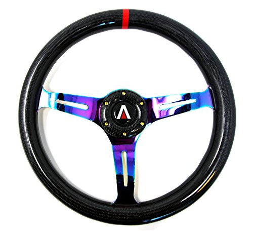 Tanaka 350mm 6 Bolt real Carbon Fiber Steering Wheel Universal with Gold Bolt (Neo Chrome)