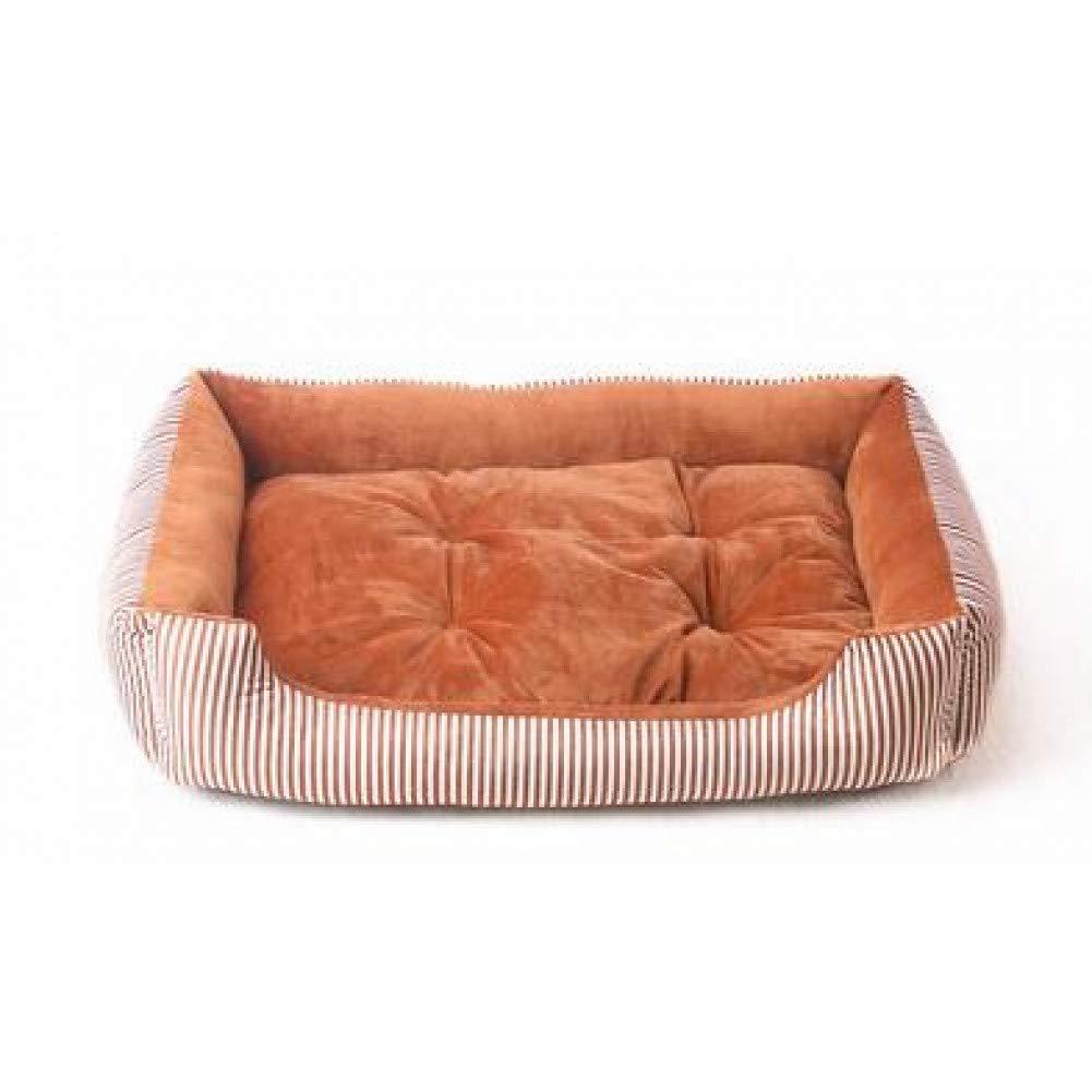 Light brown XL 80x60x15cm CZHCFF Pet Supplies Big Dog Bed Pitbull Sleep Couch Striped Detachable Dog Cat Mattress Cats Bulldog Sofa Kennels Bedding Pads