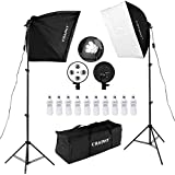 CRAPHY 450W Photography Studio Softbox Lights Softboxes Continuous Lighting Kit With Carrying Bag - 10 x 45W Light Bulbs + 40CMx60CM Softbox + 4-Head Bulb Holder for Photo Video Portrait…