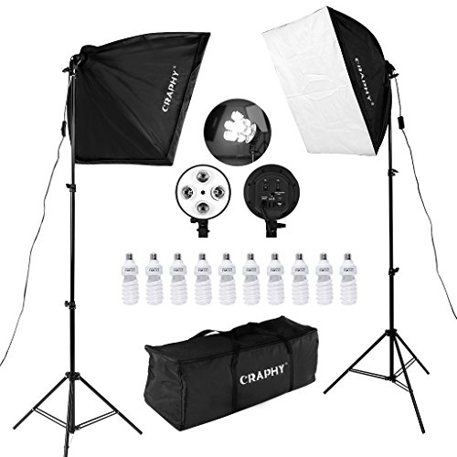 CRAPHY 450W Photography Studio Softbox Lights Softboxes Continuous Lighting Kit With Carrying Bag – 10 x 45W Light Bulbs + 40CMx60CM Softbox + 4-Head Bulb Holder for Photo Video Portrait…