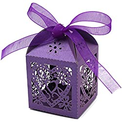 KEIVA 70 Pack Love Heart Laser Cut Wedding Party Favor Box Candy Bag Chocolate Gift Boxes Bridal Birthday Shower Bomboniere with Ribbons (Purple)