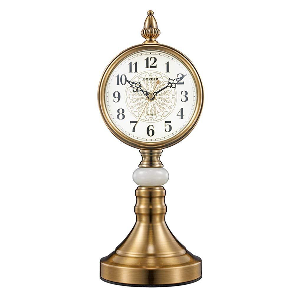 デスククロックファミリークロックヨーロッパのレトロな置時計リビングルーム/オフィス/寝室用サイレントノンティックメテルリビングルームの寝室用オフィス B07TGGYGFF