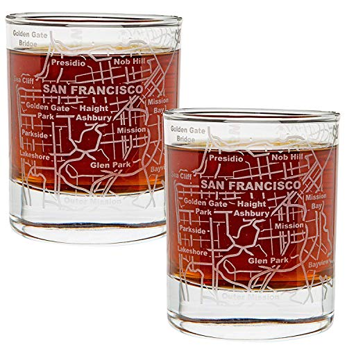 (Greenline Goods Whiskey Glasses - 10 Oz Tumbler Gift Set for San Francisco lovers, Etched with San Francisco Map | Old Fashioned Rocks Glass - Set of 2)