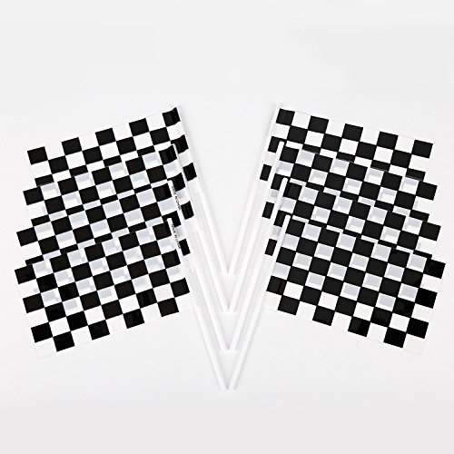 Fun Central (BC765 144cts 6 by 4 Inch Plastic Racing Flags, Race Car Party Supplies, Race Car Party, Race Car Party Favors - Sports Themed, Car Racing Themed Party - Black and White - 2 Pack of 72
