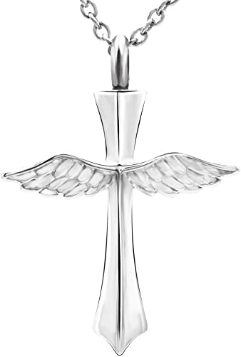 Urn Cremation Keepsake Ashes Urns Stainless Steel Winged Pendant Cylinder With Wing Urn Commemorative Pendant