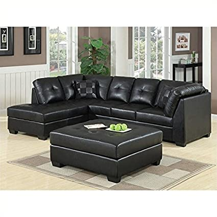 Amazon.com: Coaster Darie Leather Sectional Sofa with Ottoman in ...