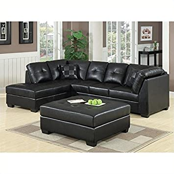 Amazon.Com: Coaster Darie Leather Sectional Sofa With Ottoman In