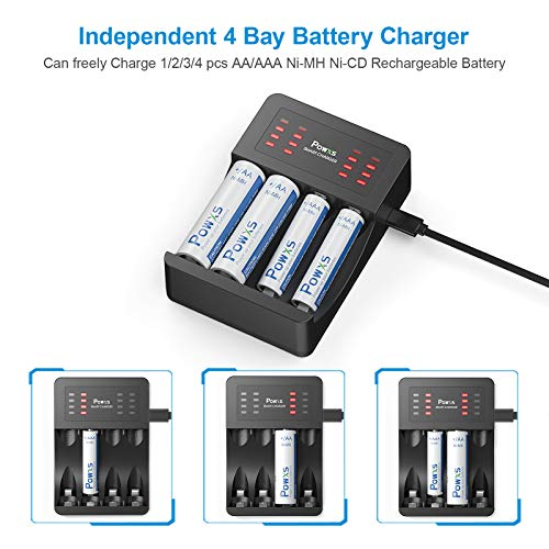 POWXS AA AAA Battery Charger 4 Slot USB Battery Charger for NIMH NICD Rechargeable AA AAA Battery