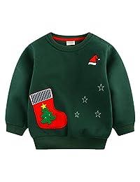 Mimiwinga Little Boy Santa Pattern Thick Pullover Fleece Crew Neck Warm Sweatshirt