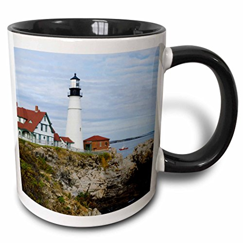 - 3dRose Danita Delimont - Lighthouses - USA, Maine, Portland. Portland Headlight lighthouse on rocky shore. - 15oz Two-Tone Black Mug (mug_205713_9)