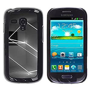 For Samsung Galaxy S3 III MINI (NOT REGULAR!) / I8190 / I8190N Case , Lightshow Rectangle Black White - Diseño Patrón Teléfono Caso Cubierta Case Bumper Duro Protección Case Cover Funda