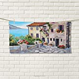Rustic Sports Towel Old Houses in a Small Town Sea and Flower Pots at Windows Oil Painting Style Absorbent Towel Beige Pale Blue Size: W 12'' x L 35.17''