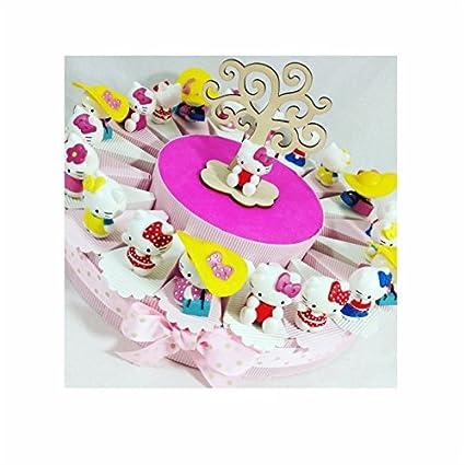 Sindy Bomboniere mkm200 C Hello Kitty para Bautizo confirmación comunión, Resina, Rosa, 4.5