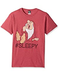 Disney Mens Snow White and Seven Dwarfs Hashtag Sleepy Graphic T-Shirt