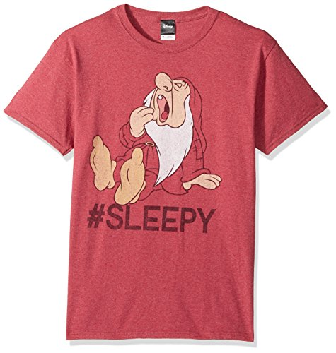 Disney Men's Snow White and Seven Dwarfs Hashtag Sleepy Graphic T-Shirt, red Heather, XL]()