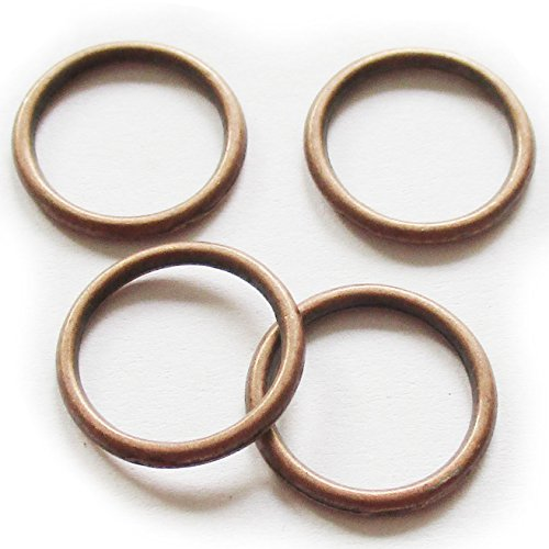 Heather's cf 120 Pieces Copper Tone Smooth Circle Close Circle Findings Jewelry Making 16mm (AE)