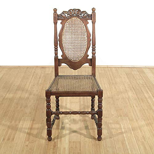 Antique Solid Oak Jacobean Rattan High Back Side Chair (Carved Oak Finials)
