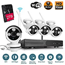 VOYAGEA 720P HD Wireless 1MP Network Camera 4CH960 NVR Wireless monitoring security system NVR CCTV Surveillance Systems Support Smartphone Remote view 2TB hard drive A3