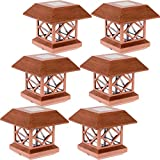 GreenLighting Outdoor Summit Solar Post Cap Light for 4x4 Wood Posts 6 Pack (Brushed Copper)