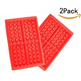 JKLcom Waffle Mold 4 Cavities Waffle Mold Silicone Baking Tray Mold for Waffle for Cake Chocolate Craft Candy Soap Baking ,Pack of 2-Red